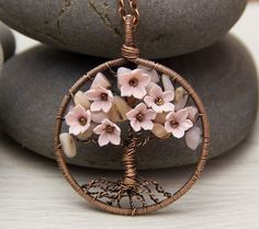 """Tree-Of-Life Necklace Pendant 1.8"""" Copper Wire Wrapped Pendant Wired Copper Jewelry Wire Wrapped Mod"""