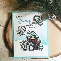 I realized I forgot to share this one! I'm making more too in other colors but anything that matches my mermaid cardstock is my favorite. They are absolutely covered in wink of Stella but I couldn't get it to show up. Holiday Cards, Christmas Cards, Winter Fairy, Lawn Fawn Stamps, Wink Of Stella, Cricut Cards, Cards For Friends, Cute Cards, Cardmaking