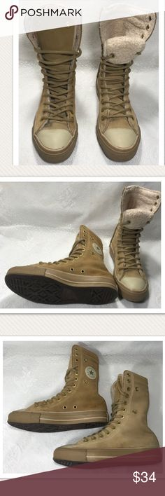 """Converse Chuck Taylor Tan Suede Sherpa Lined Rare Excellent Condition. Really hard to find. About 8.5"""" tall. Suede upper Sherpa Lined no flaws or imperfections. Men's size 4 women's 6. Converse Shoes Athletic Shoes"""