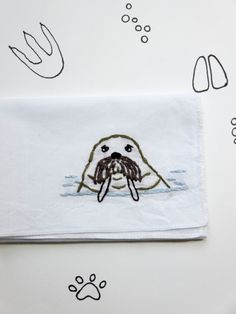Embroidered Walrus Gift Ocean Accessory Embroidered Animal Handkerchief Stocking Stuffer Ocean Lover Gift Under $25