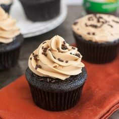 Rich, chocolatey cupcakes with a ganache center, topped with a fluffy coffee buttercream.  A mocha lover's dream!