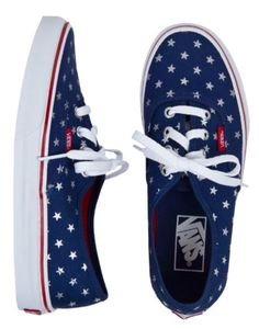 New VANS Mens 5.5 Womens 7 CLASSIC AUTHENTIC STUDDED STARS RED BLUE Sneakers