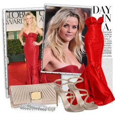 Best red carpet ever ---> Reese Witherspoon in Zac Posen by cri87 on Polyvore featuring Giuseppe Zanotti, Debut, Tiffany & Co., Zac Posen, Forum and Oris