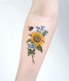 Dainty Tattoos, Up Tattoos, Unique Tattoos, Body Art Tattoos, Small Tattoos, Sleeve Tattoos, Tattoos For Women, Tatoos, Colorful Sunflower Tattoo
