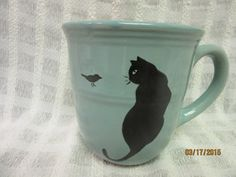 Hey, I found this really awesome Etsy listing at https://www.etsy.com/listing/226637302/cup-mug-aqua-blue-black-cat-with-bird