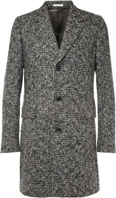 PAUL SMITH Gray Check Alpaca and Woolblend Overcoat