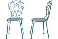 "Pair of 1920s French iron garden chairs painted green. Seat: 15.75""H."