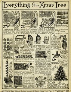 vintage christmas printable, old catalogue page, antique holiday decorating image, old fashioned christmas decoration, 1916 sears xmas #scrapbookprintables