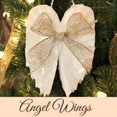 sparkling angel wings made from coffee filters, christmas decorations, crafts, seasonal holiday decor