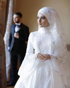 Discover recipes, home ideas, style inspiration and other ideas to try. Hijabi Wedding, Wedding Hijab Styles, Muslimah Wedding Dress, Hijab Style Dress, Muslim Wedding Dresses, Muslim Brides, Wedding Bride, Bridesmaid Dresses, Dress Wedding