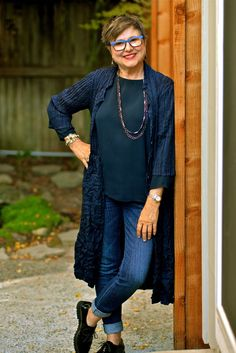 Wearing a long blue jacket over jeans on brenda kinsel website over 50 womens fashion, Fashion For Women Over 40, 50 Fashion, Plus Size Fashion, Autumn Fashion, Fashion Outfits, Fashion Trends, Classic Fashion, Ladies Fashion, Dress Fashion