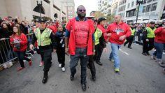 2013 Rolling Rally Parade-David Ortiz runs to the Boston Marathon finish line