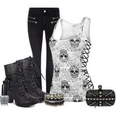 Style / emo / punk / rock / tank / skullface / black / boots