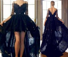 High Low Black Evening Dresses Sexy Prom Gown
