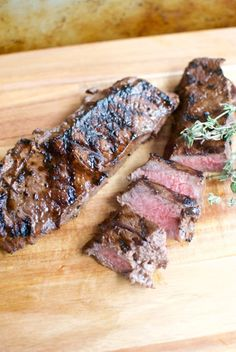 Red Wine & Herb-Marinated Steak is the summertime steak recipe you need to make! Marinated with red wine for a super tender meat, garlic and herbs. This flavor-filled steak recipe is sure to have even the strongest of steak critics asking for more! Steak Marinade For Grilling, Grilling The Perfect Steak, Steak Marinade Recipes, Marinated Steak, Grilling Recipes, Beef Recipes, Steak Marinades, Yummy Recipes, Game Recipes