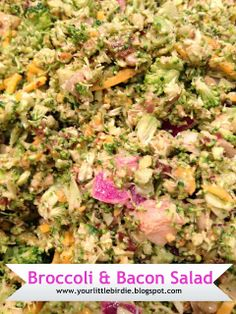 Broccoli and Bacon Salad. Perfect green side for a potluck. Broccoli Salad Bacon, Bacon Salad, Potato Salad, Food Tips, Food Hacks, Crockpot Recipes, Snack Recipes, Best Bacon