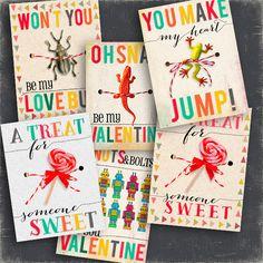 Boys Valentines day cards, kids valentine Card, Just print &put a candy kids Valentine's Day Cards Robot, oh snap Animal love Bug valentines