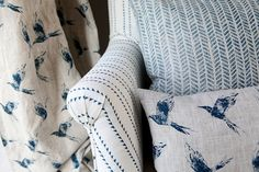 Inky Sky on Natural Linen Linen Curtains, Linen Fabric, Paint And Paper Library, Indigo Walls, Kitchen Fabric, Upholstery Fabric For Chairs, Fabric Online, Natural Linen, Soft Furnishings