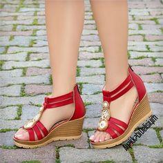 Konsap Kırmızı Taşlı Dolgu Topuk Sandalet #red #sandals