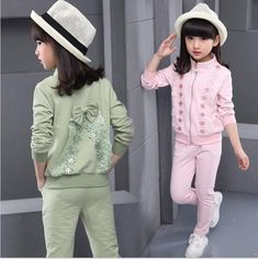 Cheap girls clothing sets, Buy Quality clothing sets directly from China girls autumn sets Suppliers: Kid Sports Wear Girl's Autumn Sets Children Tracksuits Sports suit Girls Clothing Sets Sports Suits Baby Girl Jacket Pants Set Fashion Kids, Baby Girl Fashion, Stylish Little Girls, Stylish Kids, Sport Outfits, Kids Outfits, Girls Knitted Dress, Baby Girl Jackets, Kids Dress Patterns