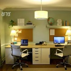 A Dining Room Is Transformed Into a Home Office For Two