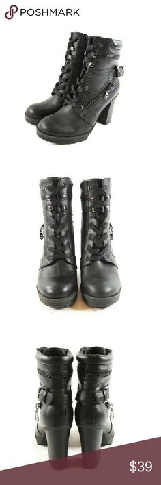 """G by Guess Gogi Black Lace-up Boots Thanks for checking out my closet. I take all my own pics. The boots are authentic and in great pre-owned condition. The boots have a man made upper with 1"""" platform and 4"""" heel. G by Guess Shoes Ankle Boots & Booties"""