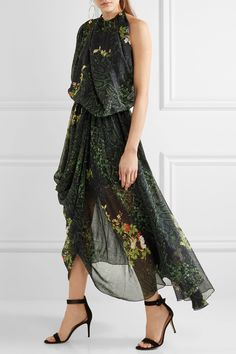 Preen by Thornton Bregazzi | Emma one-shoulder printed silk-georgette midi dress | NET-A-PORTER.COM
