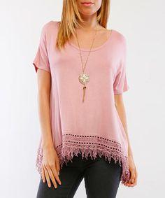 Look what I found on #zulily! Dusty Pink Fringe-Hem Tunic #zulilyfinds