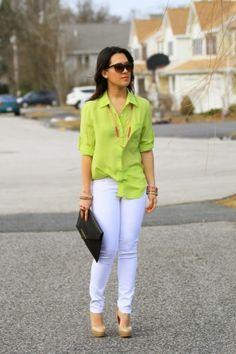 White jean. & green shirt by Fendy