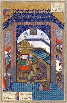 "Faraydun Strikes Zahhak With Ox Headed Mace (Abuu al-Qaasim Firdawsii (Muslim; Poet; 935–1020 CE Persian): Shahnama (""Book of Kings"") (1010.3.8 CE Epic; Abbasid Caliphate, Ghaznavid Sultanate)) (1525 CE Islamic Miniature Painting; Safavid Empire, Persia, Tabriz) -Sulthaan Mu`hammad (`Shii`ah (?); Artist; Persian (?)) #Iiran"