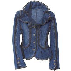 Ruffled Denim Jacket  pyramidcollection.com