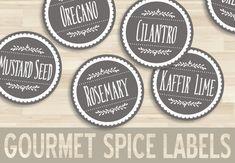 "1.5"" Printable Spice Labels // Round Circle Sticker // Gray Neutral Tan // Kitchen Organization // Chic Modern // Bottle Jar PDF Download"