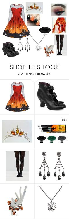 """""""Halloween Queen of Scream"""" by judycrawford427 ❤ liked on Polyvore featuring Morphe, ASOS, George, Grandin Road and Carole"""