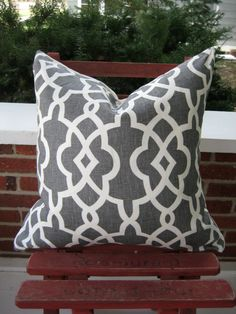 Schumacher gray and off white trellis pillow by sewhipandhumble, $45.00