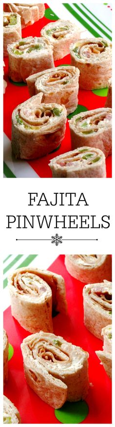 Fajita Pinwheels - Delicious rolled tortilla appetizers filled with bacon, turkey ham, roasted pepper, and green onion mixed in neufchatel cheese.