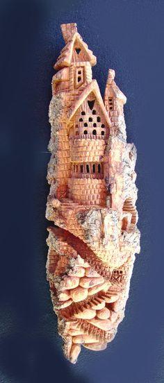 Whimsical Cottonwood Bark Castle by SpecialCreationByEvi on Etsy