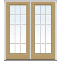 Milliken Millwork 74 in. x 81.75 in. Classic Clear Glass GBG Full Lite Painted Majestic Steel Exterior Double Door, Sandal