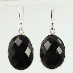 Natural BLACK ONYX Gemstones Women's Girl's Fashion Earrings 925 Sterling Silver #SunriseJewellers #DropDangle