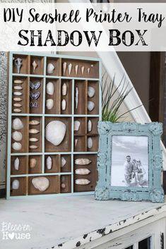 Seashell Printer Tray Shadow Box and Coastal Vignette | Bless'er House #ProjectAmazing #ad