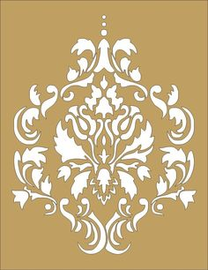 Wall Stencil damask flourish design 5 image is approx. Damask Decor, Damask Stencil, Stencil Patterns, Stencil Art, Stencil Designs, Stenciling, Flower Stencils, Feather Stencil, Bird Stencil