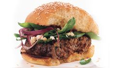 Greek Lamb Burgers with Spinach and Red Onion Salad - Bon Appétit