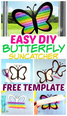 Easy and Fun DIY Spring Butterfly Sun catcher Craft - Simple Mom Project - Das . - Easy and Fun DIY Spring Butterfly Sun catcher Craft – Simple Mom Project – Das schönste Bild - Easy Diy Crafts, Diy Crafts For Kids, Fun Crafts, Art For Kids, Easy Easter Crafts, Pirate Crafts, Diy Craft Projects, Art Projects Kids, Simple Craft Ideas