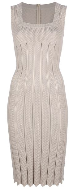 Alaïa | Sleeveless Scalloped Hem Dress ($3,081) Taupe sleeveless transparent knit featuring a square neck, a concealed rear zip fastening, a scalloped hem and a slim fit.