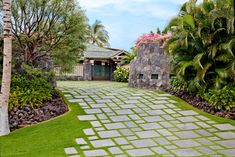 Hawaii Tropical Landscape Design Ideas, Pictures, Remodel and Decor, paving, elevation change