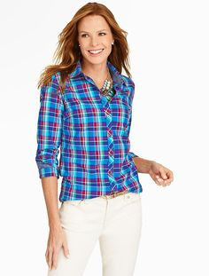 Brushed Twill Candle Plaid Shirt - Talbots