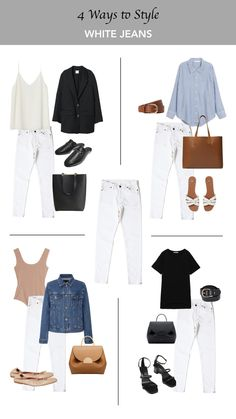 fashion outfits minimal chic 4 ways to style white jeans Capsule Outfits, Fashion Capsule, Mode Outfits, Capsule Wardrobe, Stylish Outfits, Fashion Outfits, Minimalist Wardrobe, Minimalist Fashion, White Jeans Outfit