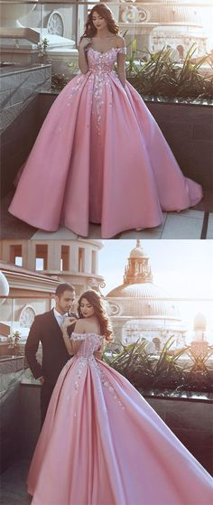 Pink Satin Ball Gown Prom Dresses V-neck Off The Shoulder With 3D Flowers M1058