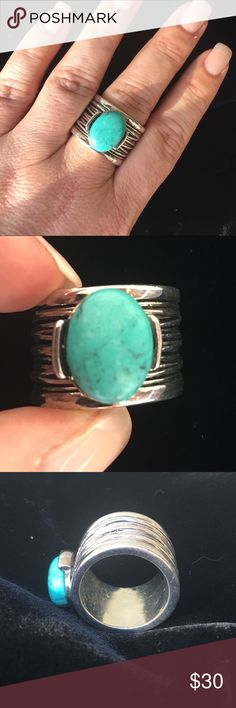 Spotted while shopping on Poshmark: Premier Design silver tone faux turquoise ring! #poshmark #fashion #shopping #style #Premier Designs #Jewelry