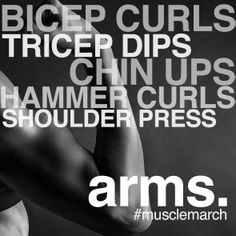 Some of our favourite arm and shoulder workouts. Definition is the goal! #WorkoutWednesday #MuscleMarch
