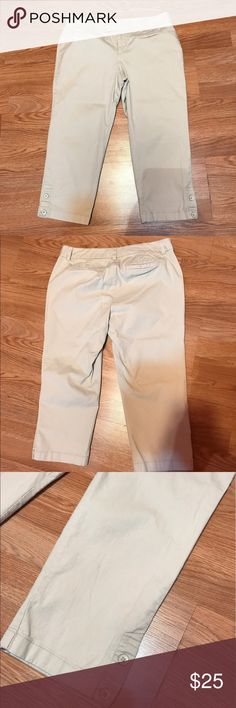 """Ann Taylor Loft Capris Great condition. Khaki Marisa fit. Has 3% spandex. Inseam 20.5"""" Size 6p Ann Taylor Pants Capris"""